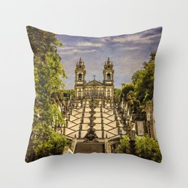 Portugal, Minho district, Braga, the sanctuary of Bom Jesus and the baroque stairway Throw Pillow