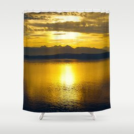Sunset at Glacier NP Shower Curtain