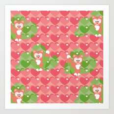 Heart and Foxes Art Print