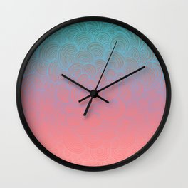 Ombre Clam Shells - Mint, Peach, Purple and Pink Wall Clock
