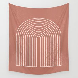 Abstract Geometric Nesting Lines Rainbow Boho Mid century Modern Minimalist Organic Shape Pastel Earth Tones Peach Pink Colors Wall Tapestry