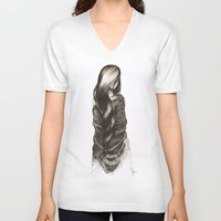 blanket V-neck T-shirts featuring Security Blanket by Rie Martin