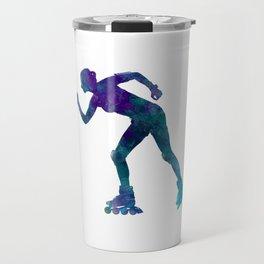 Woman in roller skates 06 in watercolor Travel Mug