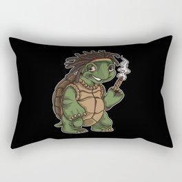 Weed Smoking Turtle | Cannabis THC CBD Rasta Rectangular Pillow