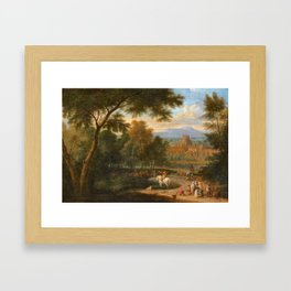 Adriaen Frans Boudewyns , Italianate landscape with travelers and riders Framed Art Print