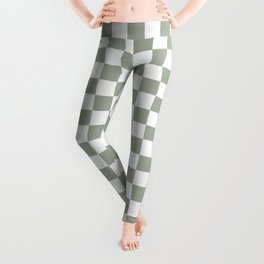 Large Desert Sage Grey Green and White Check Leggings