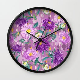 Violet Asters on geometric background Wall Clock