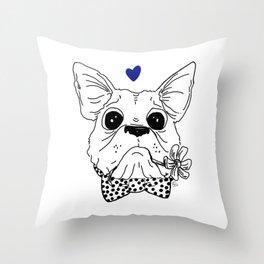 Dapper Frenchie Throw Pillow