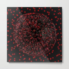 Phaistos Disc in Red Metal Print
