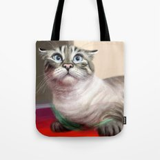 Cat Surprised Funny Animals with Feather Siamese Lynx-Point Tote Bag