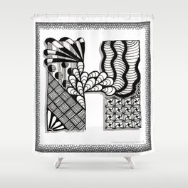 Zentangle H Monogram Alphabet Initials Shower Curtain