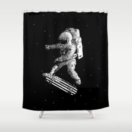 Kickflip in space Shower Curtain