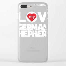 Funny German Shepherd Design I Love My German Shepherd Frame Dots Chunky Font Clear iPhone Case