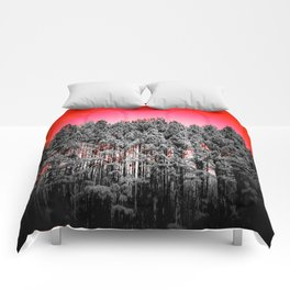 Gray Trees Candy Apple red Sky Comforters