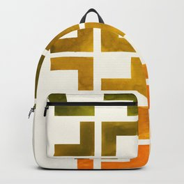 Geometric Pattern L Shaped Watercolor Painting Olive Green Yellow Ochre Colorful Pattern Art Backpack