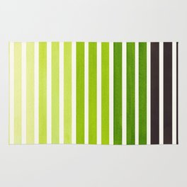 Sap Green Minimalist Abstract 15 Stripes Watercolor Gradient Rug
