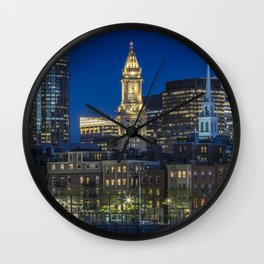 BOSTON Evening Skyline of North End & Financial District Wall Clock
