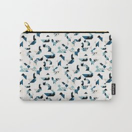 Tangram animals - wood cut - blue Carry-All Pouch