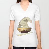 ramen V-neck T-shirts featuring The Great Ramen Wave by Sheharzad