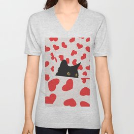 Black Cat Hiding in Hearts Unisex V-Neck