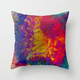 Mandala Colur Burst Throw Pillow