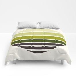 Olive Green Mid Century Modern Minimalist Circle Round Photo Staggered Sunset Geometric Stripe Desig Comforters