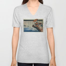 Ukiyo-e, Utagawa Kuniyoshi, Priest Nichiren praying under the storm Unisex V-Neck
