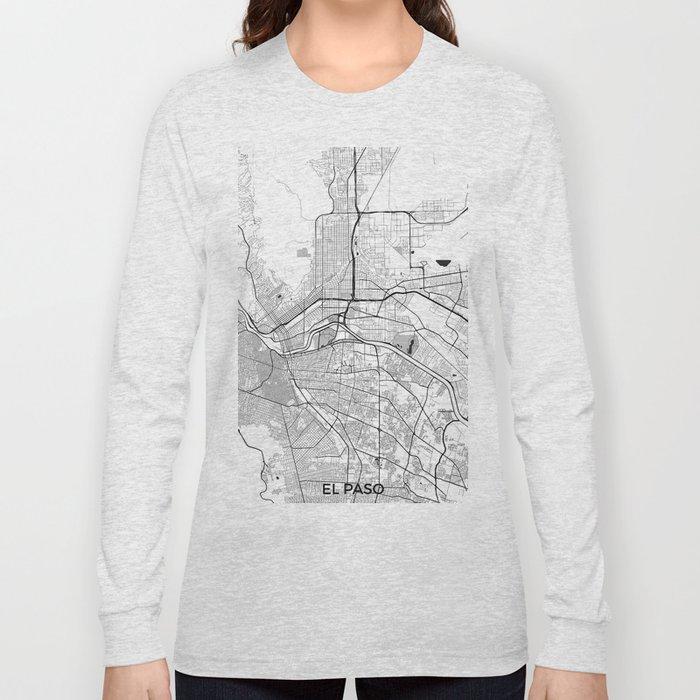 El Paso Map Gray Long Sleeve T-shirt
