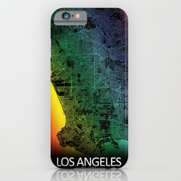 Los Angeles USA Rainbow City Map iPhone Case