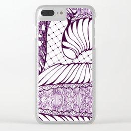 Purple Art Deco Doodle Design Clear iPhone Case