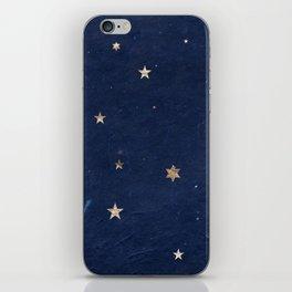 Good night - Leaf Gold Stars on Dark Blue Background iPhone Skin