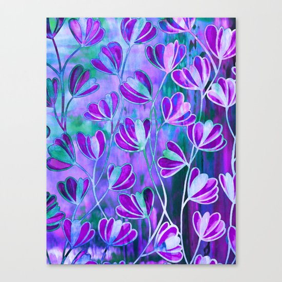 EFFLORESCENCE Lavender Purple Blue Colorful Floral Watercolor Painting Summer Garden Flowers Pattern Canvas Print