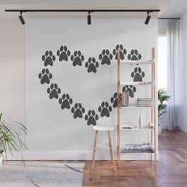 Paw Prints Heart Wall Mural