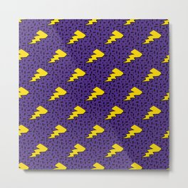 Yellow and Purple 90's Retro Lightning Bolts Pattern Metal Print