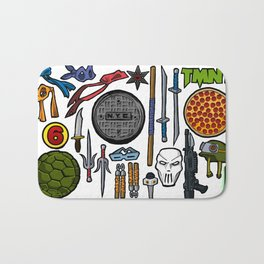 TMNT Weapons & Masks Bath Mat
