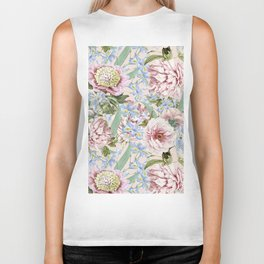 Vintage & Shabby Chic Floral Peony and Iris Flowers Watercolor Pattern Biker Tank