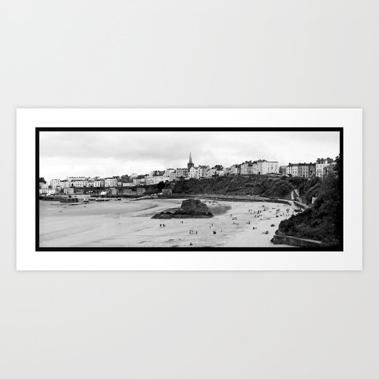 Tenby Harbour.Panoramic.B+W. Art Print