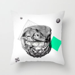 Zoological Serie: Resilience, Frog, cosmic, geometric, space, animal, green Throw Pillow