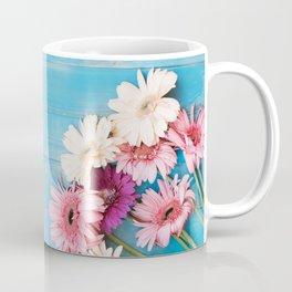 Flowers x Faded Blue Wood Coffee Mug