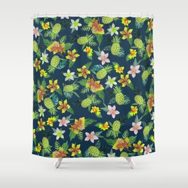 Tropical Lime Green Coral Navy Blue Pineapple Watercolor Floral Shower Curtain