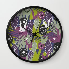 Wild decor with foxes Wall Clock