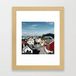 norwegian village in the fjord Framed Art Print