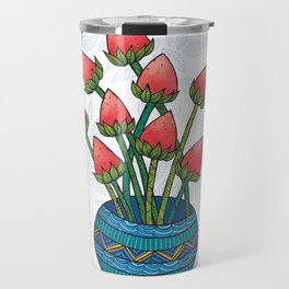 Strawberry Flowers Travel Mug