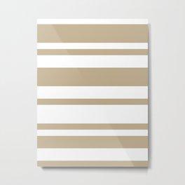 Mixed Horizontal Stripes - White and Khaki Brown Metal Print