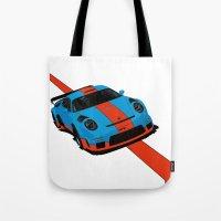 porsche Tote Bags featuring Gulf Porsche by SABIRO DESIGN