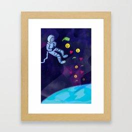 Astronaut in Space On Internet Using Social Media Framed Art Print