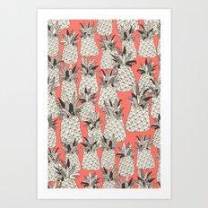 pineapple blush coral Art Print