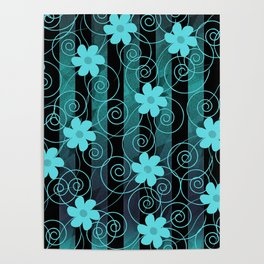 Green flowers Poster