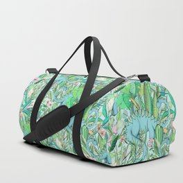 Improbable Botanical with Dinosaurs - soft pastels Duffle Bag