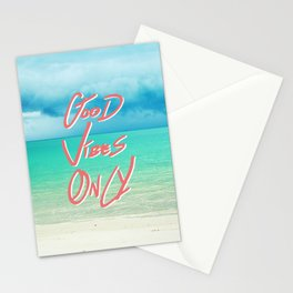 """Good Vibes Only""  Quote - Turquoise Tropical Sandy Beach Stationery Cards"